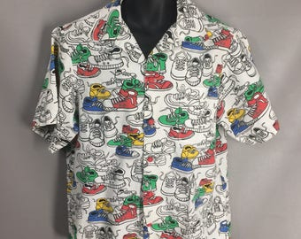 Awesome 80s Sneakers Shirt. Colored Shoes Shirt. Retro Print Mens Shirt. Button Front Summer Shirt. Pool Party Beach Shirt. Fun Top. Size M
