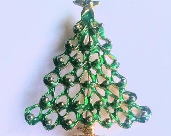 Christmas Tree Pin Brooch Green Enamel Gold Enamel Ornaments Vintage Jewelry Jewellery
