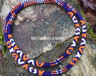 Navy/Orange/White Beaded Rope Necklace