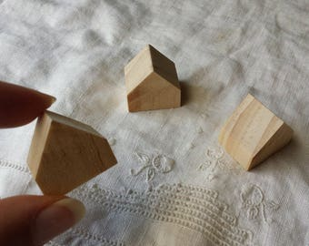 3 miniature wooden houses   natural wood houses   little houses for crafts   miniature cottages   mini houses   doll house   assemblages