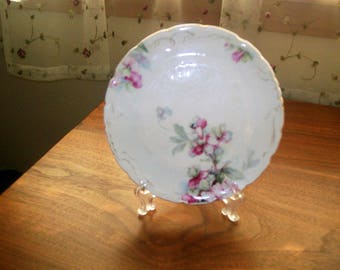 Antique Victorian Porcelain Trivet w/Pink and Green Flowers
