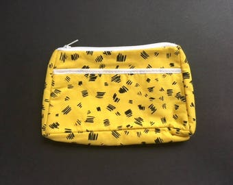 NOS Vintage 80s Yellow Abstract Leopard Print Make Up/ Toiletry Bag