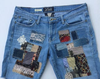 patched cut off shorts, patchwork denim, patched up jeans, trendy boho vintage, Lucky brand size 8, size 29