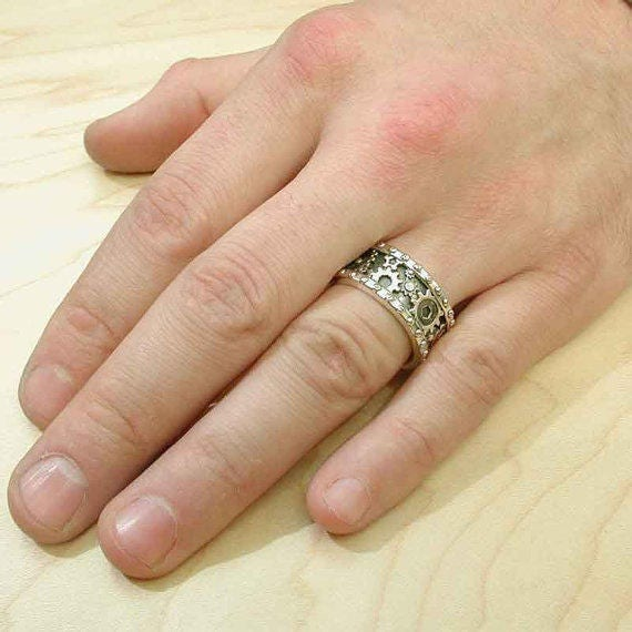 Distressed Silver Gear Ring Steampunk Industrial Cogs and Rivets