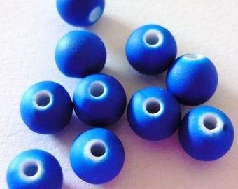 10 pearls fluorescent Blue 6mm round