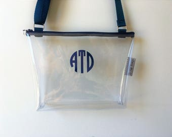 NEW**Quick Ship**Clear Stadium Bag Monogram Security PGA Tour Zipper Purse/Shoulder/Crossbody Bag/Purse/Game Day/Gift Idea