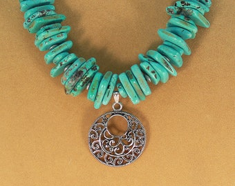 Turquoise necklace, tribal ethnic pendant, hypoallergenic jewelry, turquoise jewelry, hand crafted necklace.