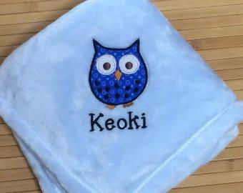 Personalized 30x40 Micro Fleece Baby Blanket Boy Owl