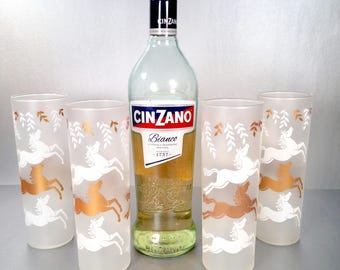 """1950's """"Cavalcade"""" by Libbey Glass Co. Frosted Equestrian Highball Tumblers"""