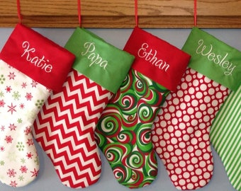Personalized Christmas Stocking, 30 fabrics and 5 fonts to choose from