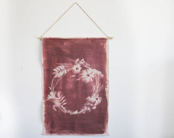 One of a Kind Plum and Sepia Hand Dyed and Embroidered Botanial Wreath Sun print Wall Hanging