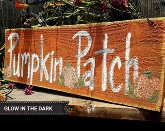 Pumpkin patch sign,rustic halloween decor,glow in the dark,black and orange,rustic fall decor,primitive fall decor,outdoors,autumn decor