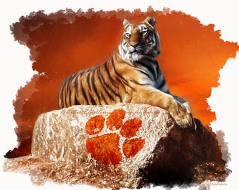 Clemson Tigers Protector of the Rock Art Print