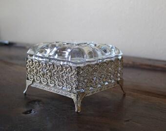 Vintage Ormolu Trinket Dish with Lid, Filigree Jewelry Box, French Style Trinket Dish, with FREE Gift