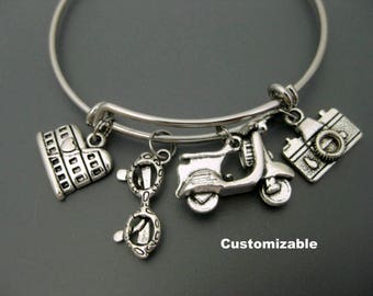 Rome Bangle / Italy Bracelet / Travel Bracelet / Travel Bangle / Wanderlust Bracelet / Scooter Bracelet /  Camera Adjustable Charm Bracelet