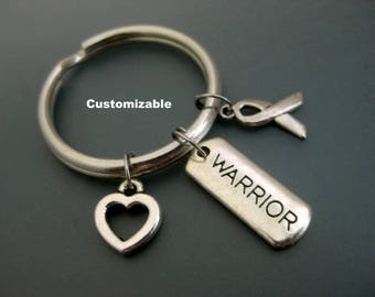 Warrior Keychain / Warrior Key Ring /  Cancer Keychain / Cancer Key Ring / Gift For Survivor / Survivor Keychain / Cancer Awareness Keychain