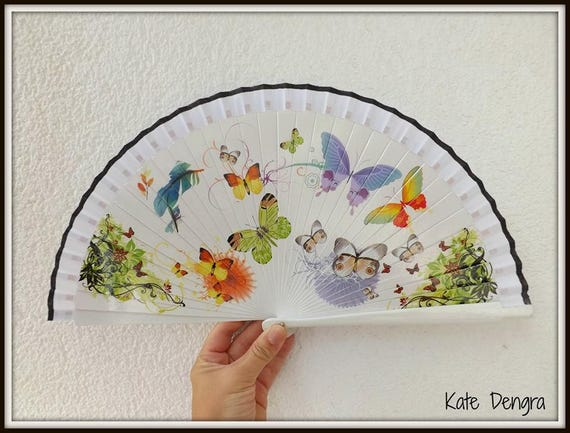 White Butterfly Design Spanish Hand Fan Limited Edition