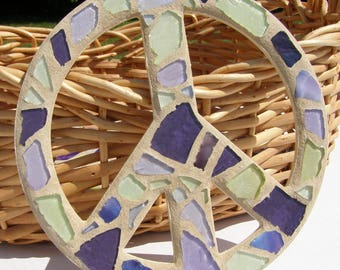 Peace Sign Wall Art peace sign wall art mosaic gold earth tone decor hippie 60s