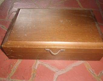 vintage solid wood jewelry box musical mirror
