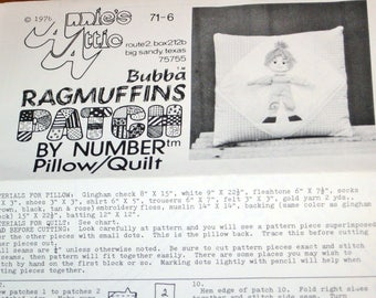 Vintage 1970s Patch by Number Quilting Craft Sewing Pattern Annies Attic 71-6 Bubba Ragamuffins Pillow and Quilt Applique Country Boy, Uncut