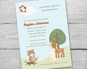 Woodland Baby Shower Invitation Boy, Woodland Baby Shower, PRINTABLE, Woodland Invitation, Woodland Critters, Forest Baby Shower,