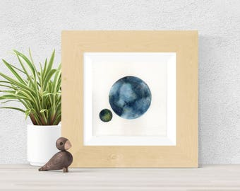 Original Watercolor Blue and Green Dual Planet Clouds Painting Weather Art Astronomy Moon Star Galaxy Art OOAK Limited Edition