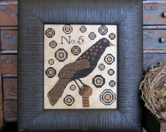 Pre-order 2018 Nashville Market KATHY BARRICK Crow No. 5 counted cross stitch patterns at cottageneedle.com Mother's Day Hart