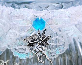 Iridescent Happily Ever After, Fairy Tale Wedding Garter, Fairy Wedding Theme, Blue Garter, Handfasting Wiccan Wedding, faerie wedding