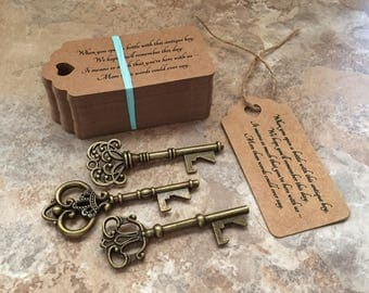 "Skeleton Key BOTTLE OPENERS + ""Poem"" Thank-You Tags – Wedding Favors set of 75 - Ships from United States - Antique Bronze - Mixed Styles"