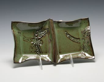 Handmade Ceramic Double Bowl Serving Dish in Metallic Green with Dragonfly/Ceramics and Pottery