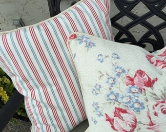 Vintage Fabric Stripe Red White and Blue Ticking Decorative Throw Pillow