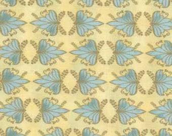 Metallic Fabric, Hoffman Fabrics, Blue and Gold Metallic on Cream, Nouveau Riche, 68512-9B