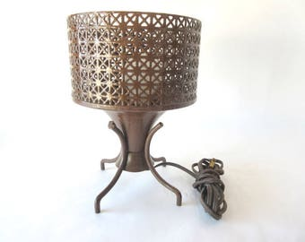 Mid Century Modern MCM Lamp Atomic Reticulated Wire Mesh Footed Table Lamp