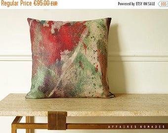 "ON SALE Japanese inspired throw pillow. Abstract art printing linen  18"" Square cushion cover.  Coral orange & boho green .. Carpe koi / FRA"