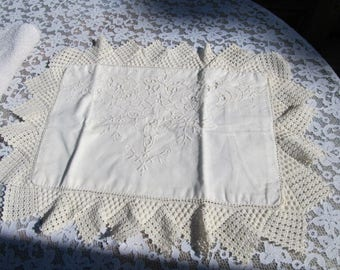 Antique Crochet Embroidery Cream Color Small Baby Pillow Cover