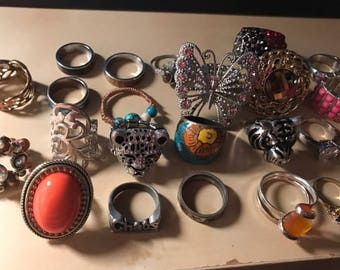 Lot of Over 20 Wearable Costume Rings, Jewelry Findings