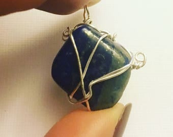 Lapis Wire Wrapped Pendant - New