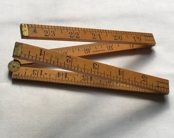 Brass And Wood Folding Tape Measure