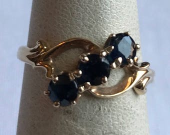 10 K Yellow Gold Ring With Three Deep Blue Stones-Size 5