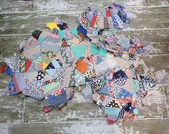 Vintage Quilt Blocks Pieces 40s 50s Feedsack Prints Lot Of 88 Pieces Stars