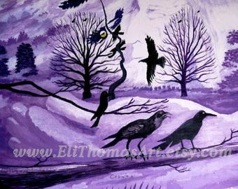 crows art , native american art , Eli Thomas Art , animal art , nature art,  totem crow print , gift idea ,spirit art, birds, purple decor
