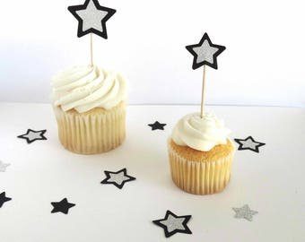 Star Cupcake Toppers, Magic Wand Decorated Toothpicks, New Years Party, Graduation Party