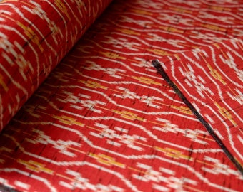 Vintage IKAT Wool Kimono Fabric unused bolt by the yard Red Yellow and White IKAT print Woven Tatewaku 100% Wool OFF the bolt