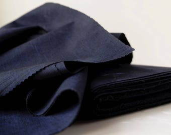 Indigo Blue Silk Tsumugi Kimono Fabric unused bolt by the yard Navy Blue Dark Blue 100% Silk OFF the bolt