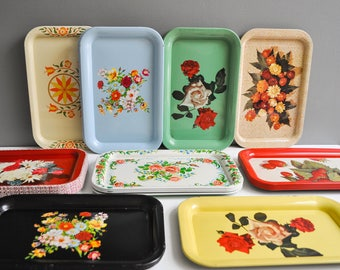 On Hold for Monica - Pair of Vintage Metal Serving Trays