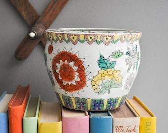 Vintage Ceramic Chinoiserie Flower Pot