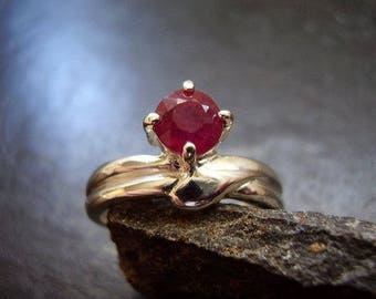 Genuine Ruby Solitaire Faceted Round Modern Engagement Ring Solid 925 Sterling Silver Ring July Birthstone Anniversary Gift For Her