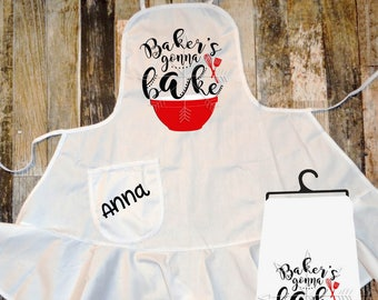 """Adults Apron, """"Bakers gonna bake"""" great for gifts, apron set, Christmas present, personalized, floursack towel"""