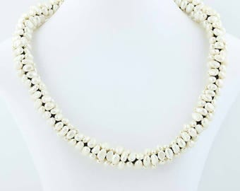 Freshwater Pearl Statement Necklace Beaded Adjustable Length Sterling Silver Poly1103