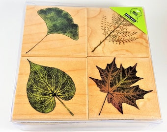 Leaves Mounted Rubber Stamp Set